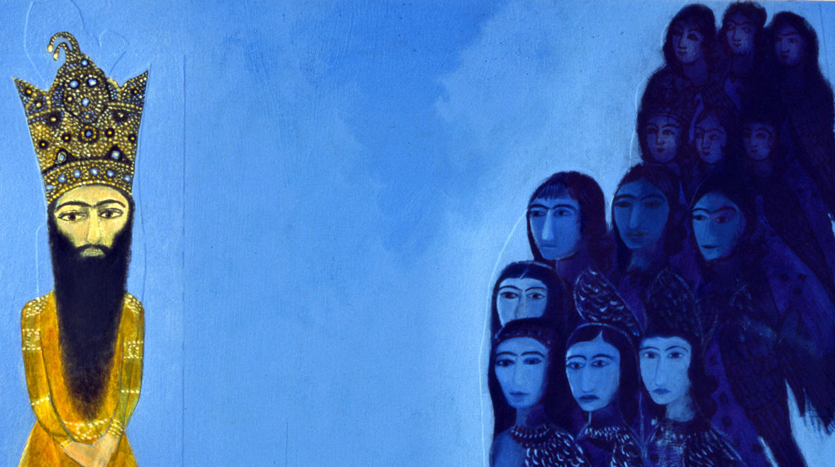 An illustration by Dr. Talinn Grigor of Iranian women portrayed as birds on top of a bright blue background. They are surrounding a bearded man of royalty.