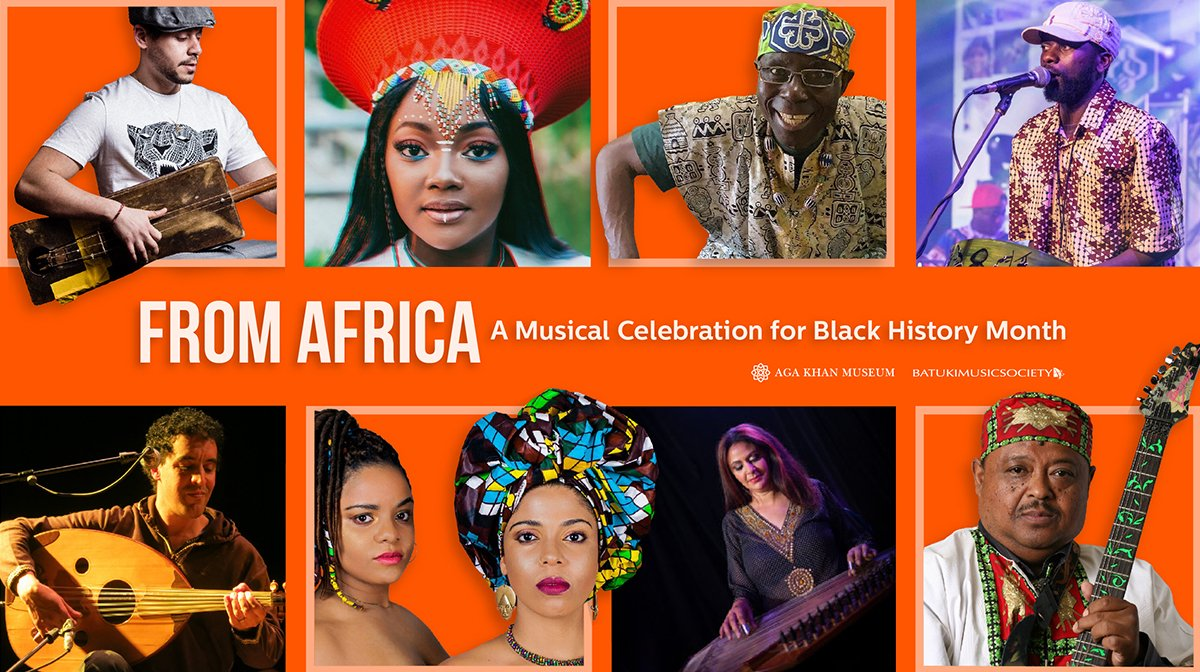 Banner featuring eight acts performing the Aga Khan Museum's From Africa online concert