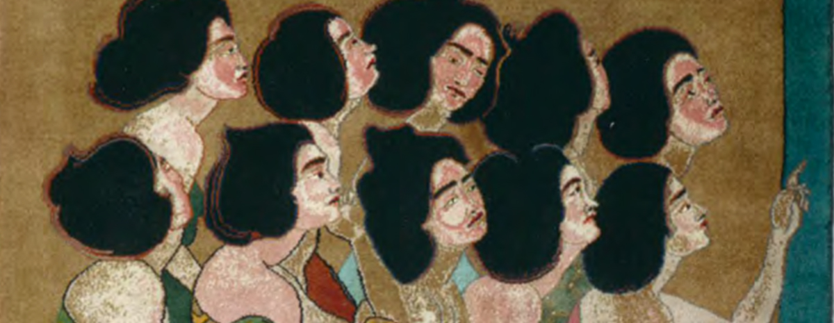 Two rows of five women each, all with black hair seen in profile.