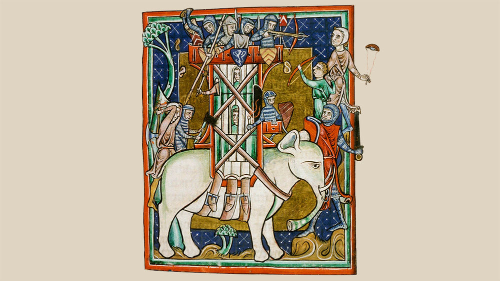 In an illustration, a tower with armed men on its roof is strapped to the back of a white animal with trunk and tusks.