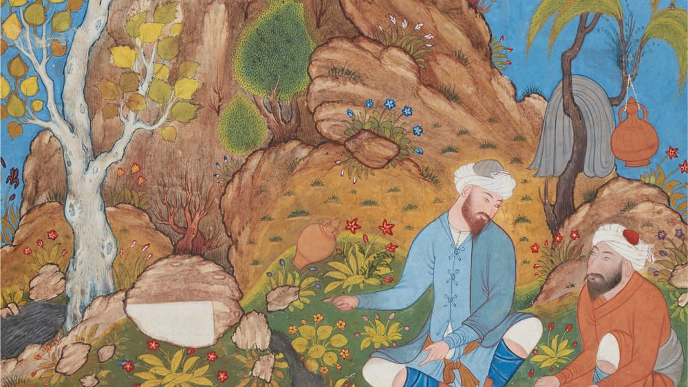 A Persian painting depicts two men, one dressed in blue, against a landscape of rocks, trees, flowers, and a blue sky.