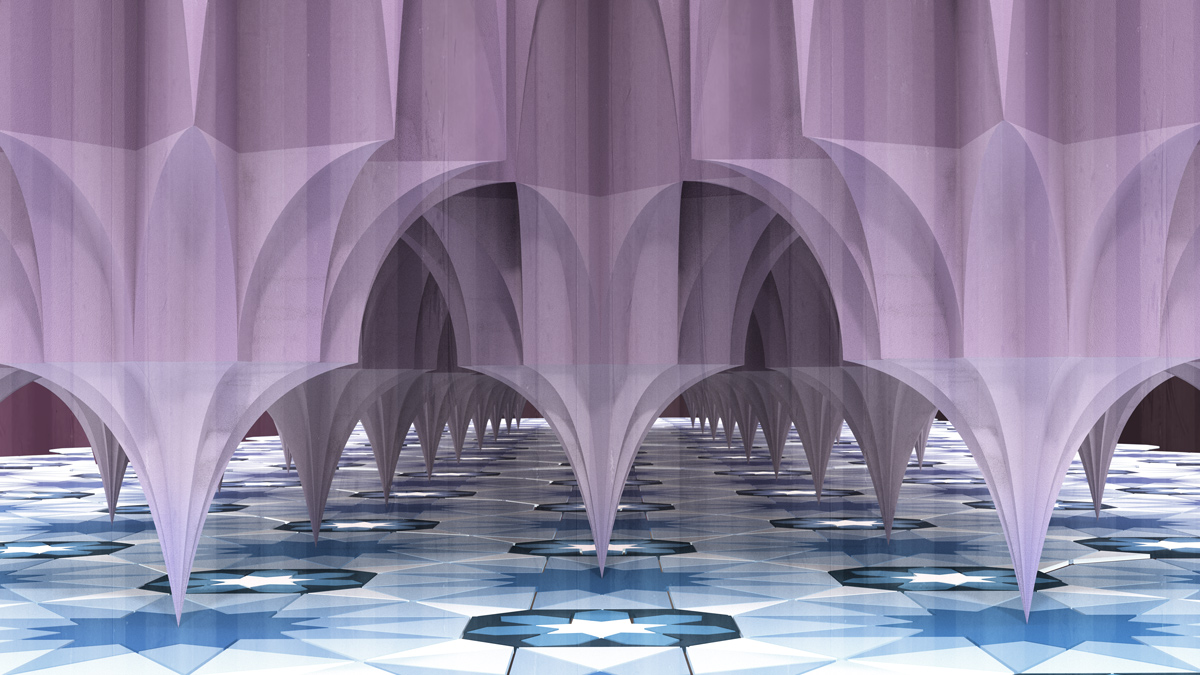 Purple geometrically-shaped columns with pointy bases balance on a blue geometric floor