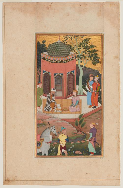 Folio page with a painting depicting two seated figures on a rug in front of a short peach-coloured tower. Between them are prayer beads, books, paper and a pen. To the right are two standing, armed figures; below are two additional soldiers, one leading a grey horse.