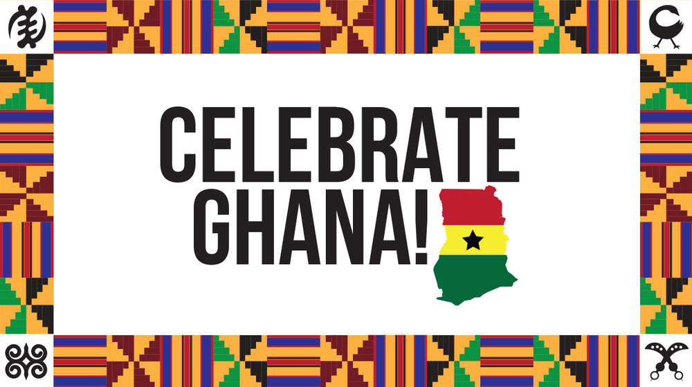 A border of African prints surround the words Celebrate Ghana on a white background.