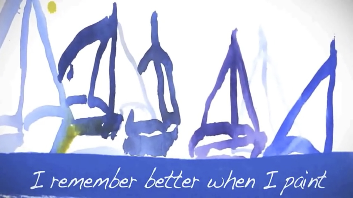 "Five sailboats painted in watercolour float on water, inside which the words ""I remember better when I paint"" are written."