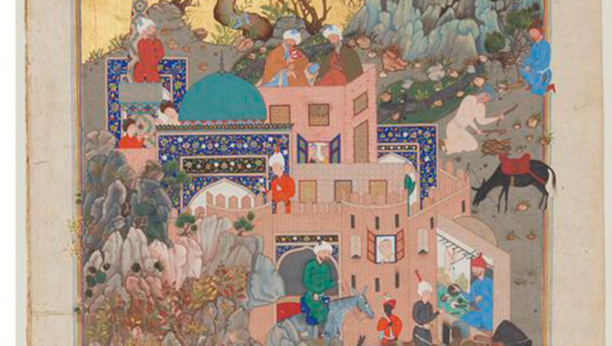A bright watercolour painting from 16th-century Iran showing a town teeming with activity, including farmers tending to fields, men riding or leading horses and donkeys, and powerful figures in a brightly coloured fortified building conversing with each other.