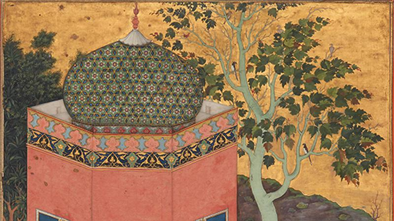 A detail of a 17th-century watercolour painting from Iran showing a structure with a green cupola with blue, yellow, and red accents.