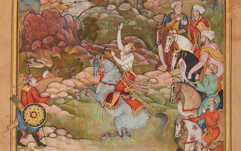 A detail of a 16th-century watercolour painting from what is now Pakistan showing a man on a horse, his right-hand extended towards the sky, as six men on horses and a man with bows in his quiver look on.
