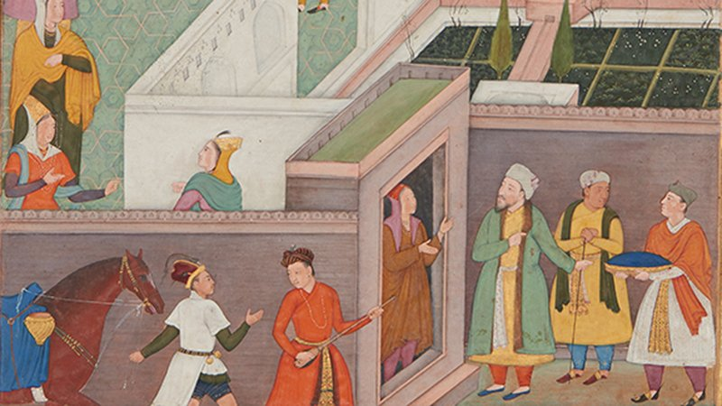 A detail of a 17th-century watercolour painting from India showing a women greeting three men at the door of a palace while two men and a horse pass by.
