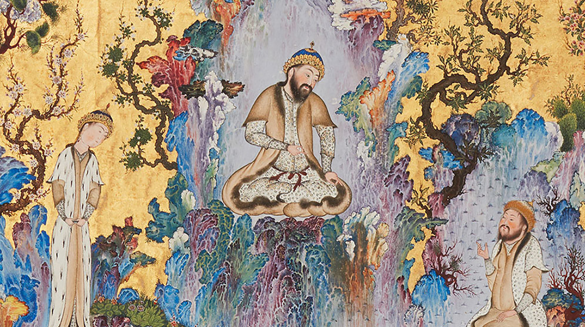 A bright watercolour painting from 16th-century Iran showing a man sitting in the centre between two men standing, surrounded by trees.