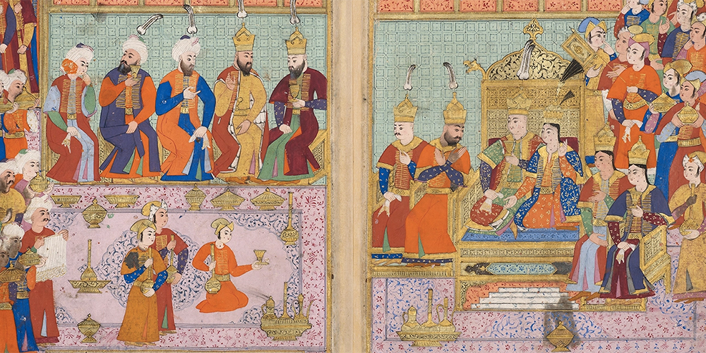 In this watercolour from 16th-century Turkey, two lovers sit on magnificent thrones as their courtiers gesture in astonishment at the marvellous scene. The eight lines of text describe how soldiers came and set up tents for the event, before hundreds of men came to feast and celebrate.