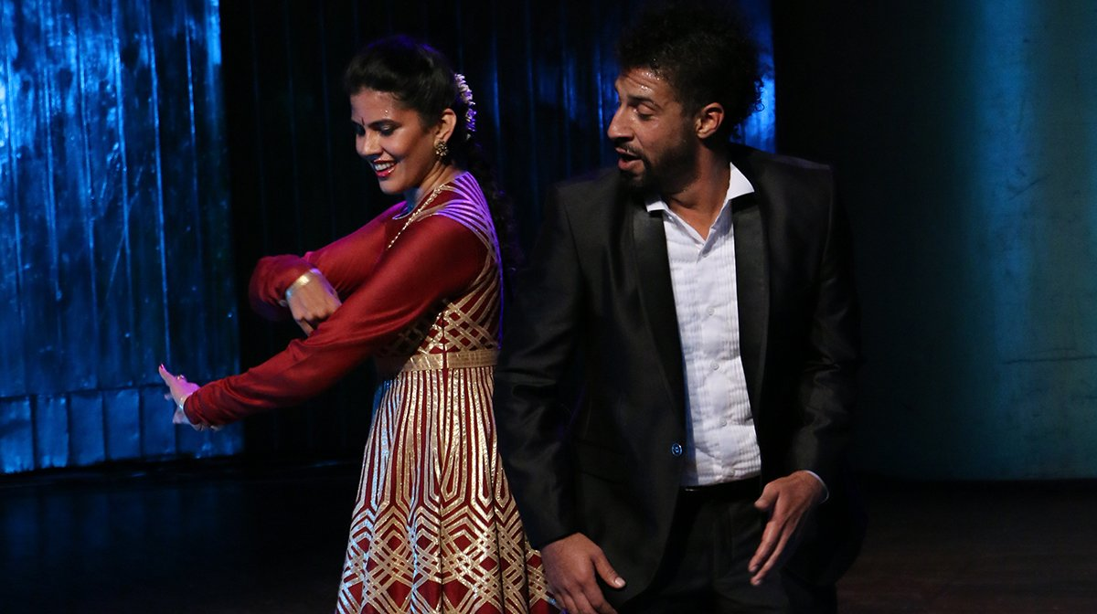 Seema Mehta and Jason Samuels Smith dance side by side.