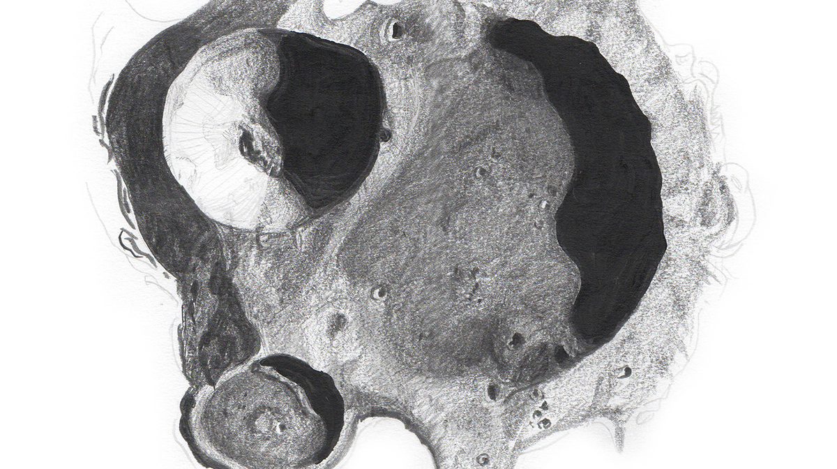 A pencil drawing of the moon's Resnik crater.