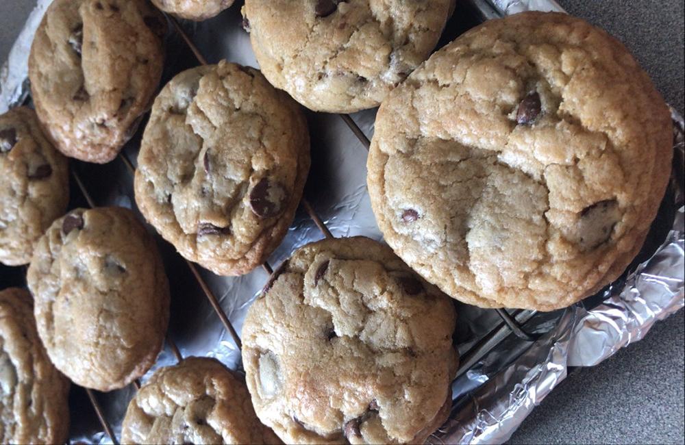 Chocolate chip cookies cool on a metal rack.