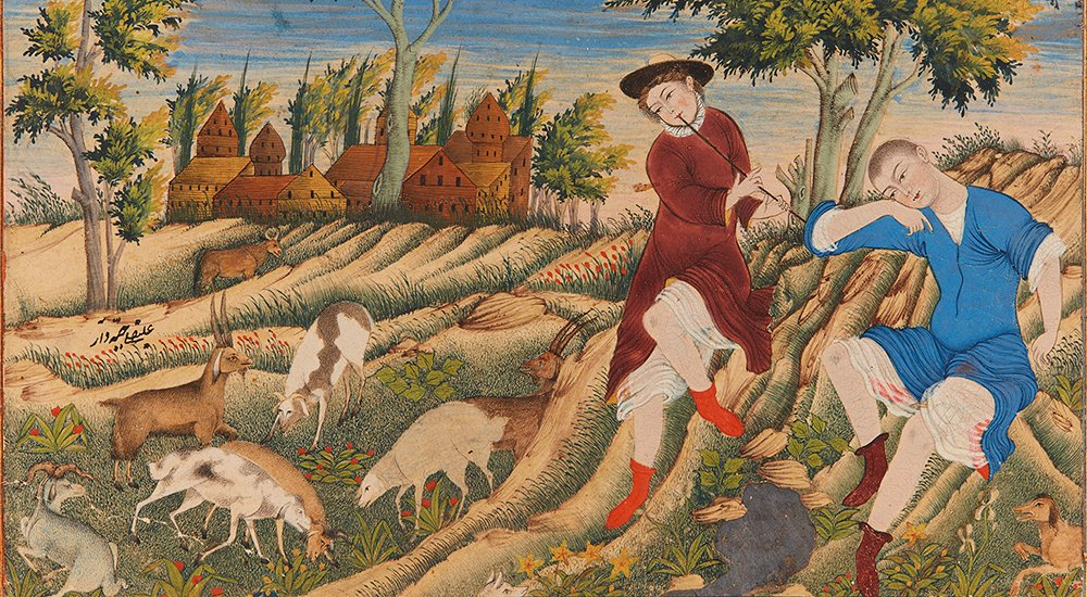 In a watercolour from 17th-century Iran, two shepherds relax in a farmer's field while goats and sheep graze nearby.