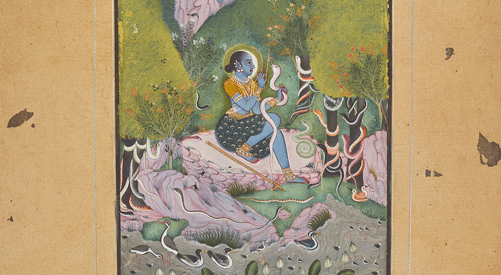 In this painting from 18th-century India, a woman with blue skin holds a snake while more snakes slither up the trees around her.