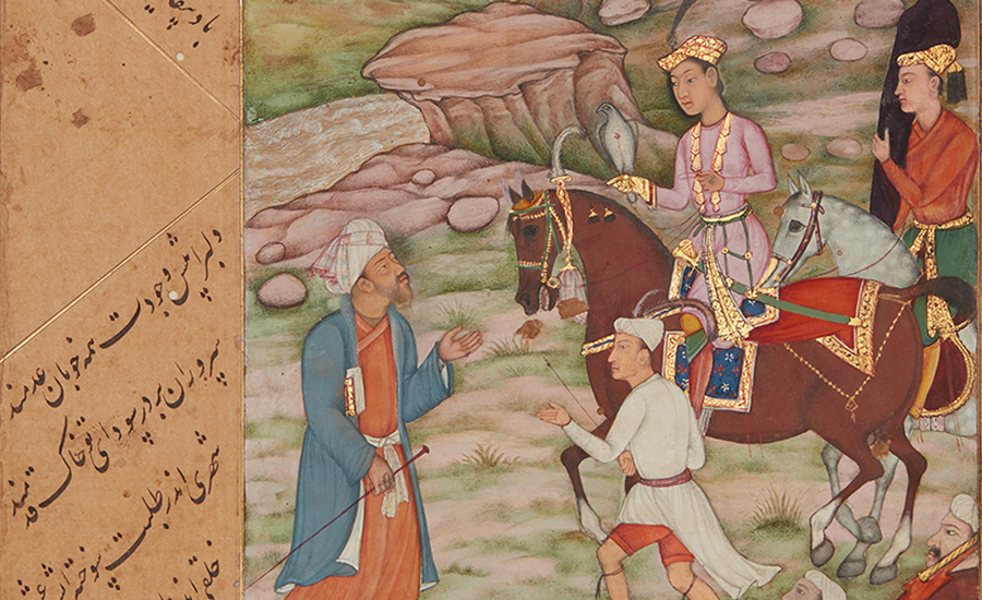 A manuscript painting from 17th-century India showing a prince along with two men in his entourage encountering a wise man on their journey.