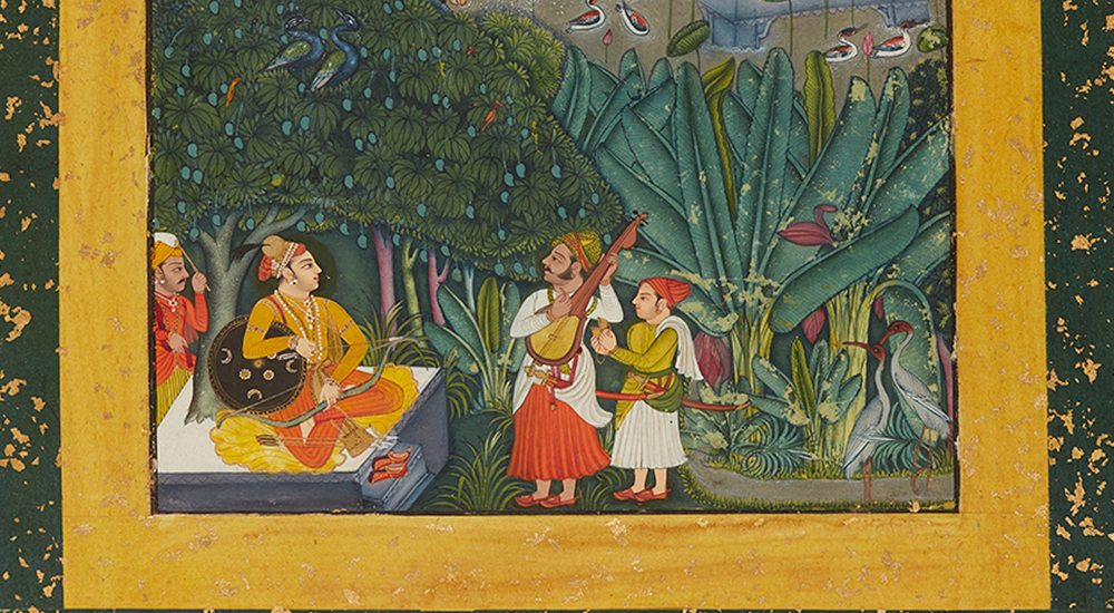 A manuscript painting from 18th-century India showing a prince, seated with a member of his entourage standing behind him, watch two musicians perform in front of his in a lushly green outdoor setting.
