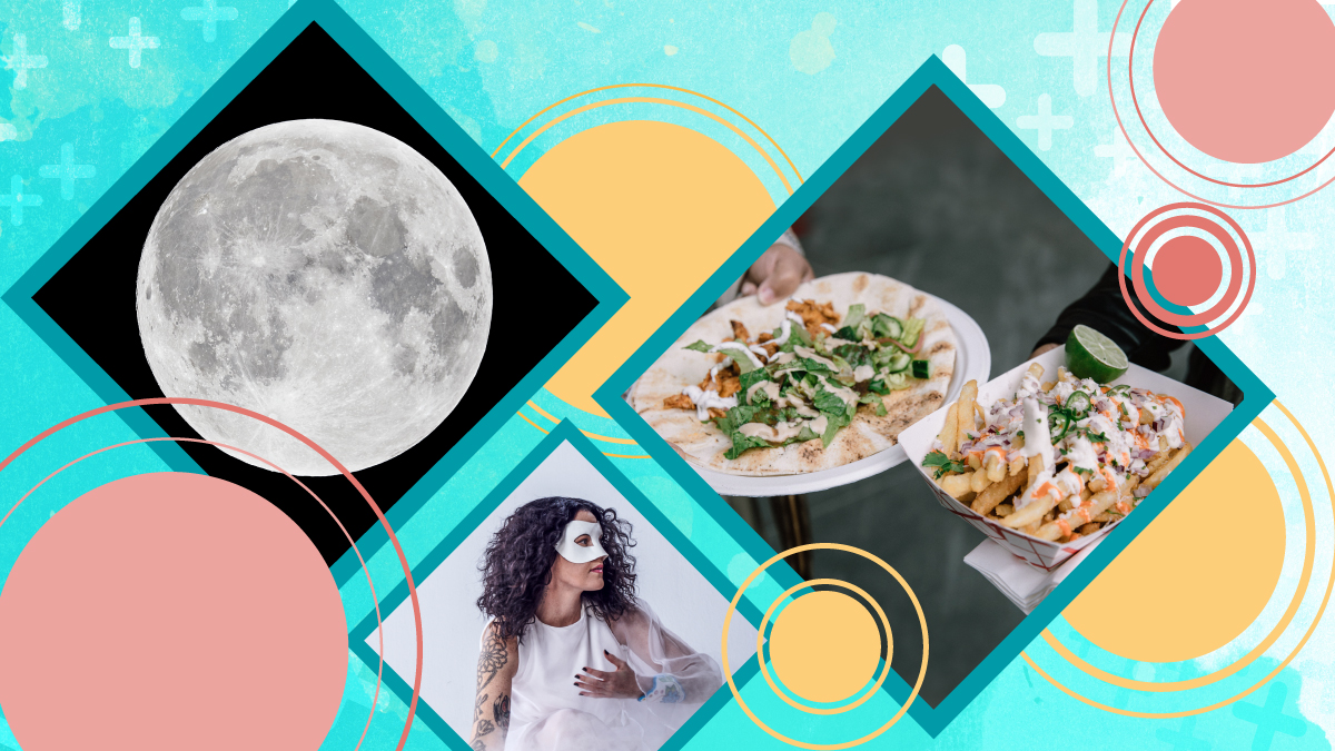 A collage of three images: the moon, a woman in a mask, and two plates of food.