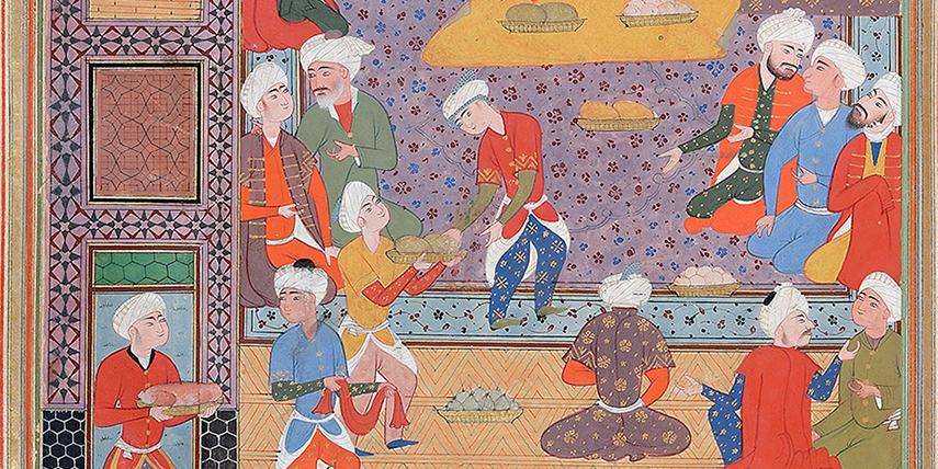 A manuscript painting from 16th-century Iran showing workers in a palace kitchen preparing a feast.