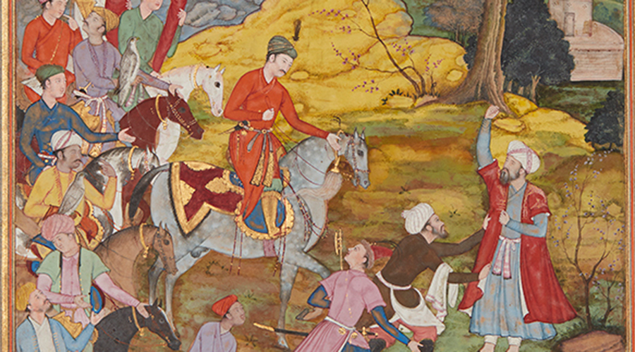 A manuscript painting from 17th-century India showing a man on horse encountering another man who is raising his right hand.