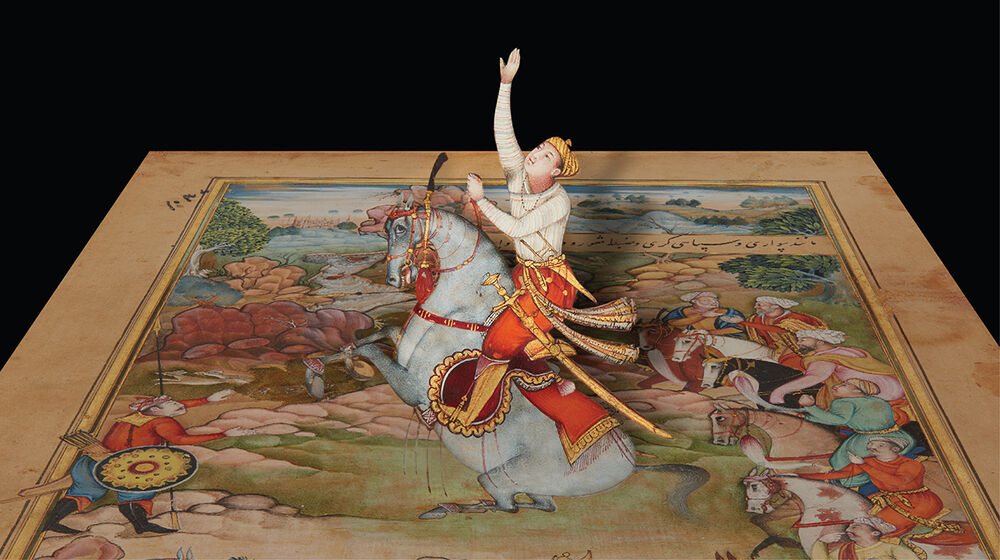 A digitally modified version of a 16th-century manuscript painting from what is now Pakistan showing a young man on a horse with his right arm extended toward the sky.