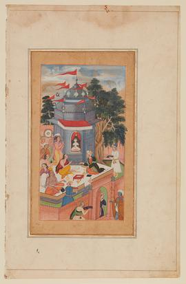 Figures sitting on a roof top with books spread between them, one figure sits with the Brahmin priests by the small domed shrine of an idol