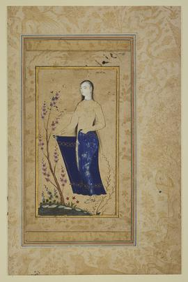 This single-page drawing depicts a young woman at a pond in a landscape containing flowers and a graceful and elegant blossoming tree, with a blue wrap skirt.