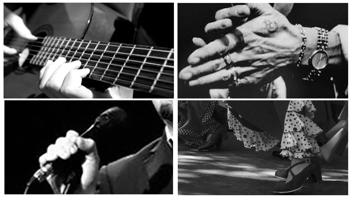 A collage of close ups: of a guitar and hand, hands clapping, feet dancing under a swirling skirt, a mic and mouth.