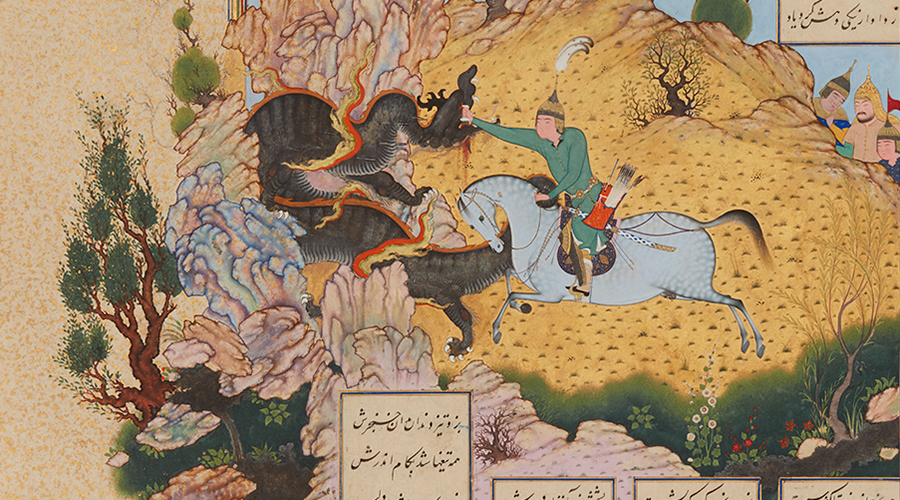 A manuscript painting from 16th-century Iran showing a hero in a green robe on a white horse charging at and striking a dragon.