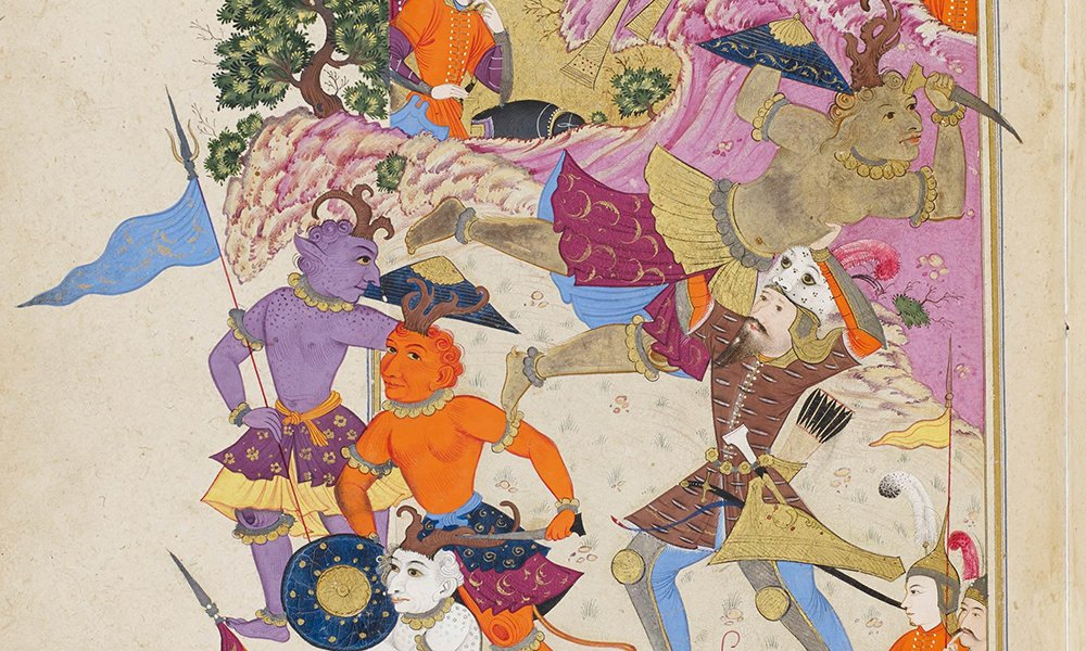 A manuscript painting from 17th-century Iran showing the hero Rustam fighting Puladvand and his army of demons.