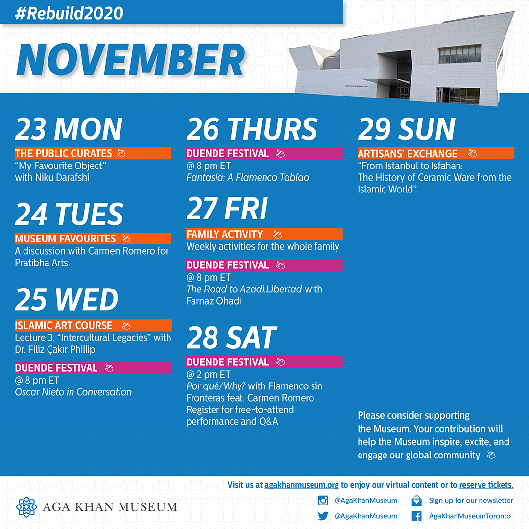 A calendar of #MuseumWithoutWalls programming and events for the week of November 16, 2020.
